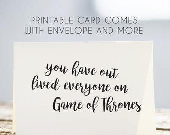 50% OFF game of thrones birthday card, game of thrones printable card, game of thrones card, game of thrones download