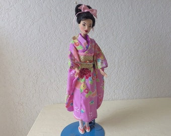 Candi Girl Asian Fashion Doll  from Hamilton Toys, 1990 Re-dressed in a  traditional silk Japanese Kimono.