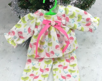 14 inch doll clothes-to fit Wellie Wishers-Flannel Pajamas and Slippers-Christmas-Stocking stuffers