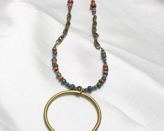 Spring Sale NECKLACE EarthTone Colors with Chain BRASS RING Pendant