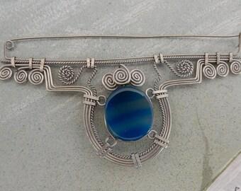 Brazilian Blue Agate & Twisted Silver Wire Brooch