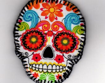 Halloween, Quilted Skull Pin (HQSP03a)