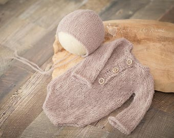 Long Sleeve Romper and Bonnet Set - READY TO SHIP - photo prop neutral newborn