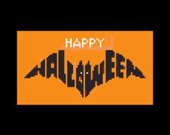 Happy Halloween Bat Cross Stitch, Halloween Cross Stitch, Bat Pattern, Bat, Halloween Bats, Halloween Patterns by NewYorkNeedleworks on Etsy