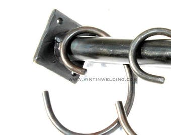 Hand Forged Iron Curtain Rod Hook, Shower Curtain Hook or Pot Rack Hook by VinTin