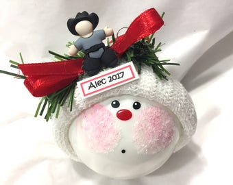 COWBOY Christmas Ornament Blue Sheriff Hand Painted Handmade Personalized Themed by Townsend Custom Gifts - BR