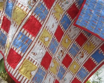 Boys at Play....A Travel Size Fray Edge Quilt.......Read to Ship