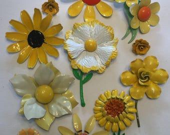 Vintage Enamel Flowers Jewelry Lot Yellow
