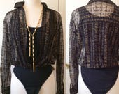 90s bodysuit, sheer gold and black layered, XS S M