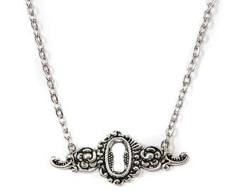 "FLASH SALE Antiqued Silver Skeleton Key Lock Filigree Necklace with 18"" Chain"