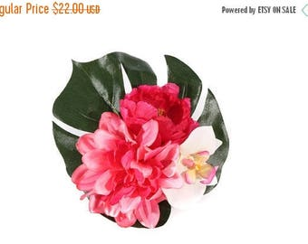 FLASH SALE Large Hot Pink Peony Dahlia and White Orchid Tropical Pinup Hair Flower Fascinator Clip