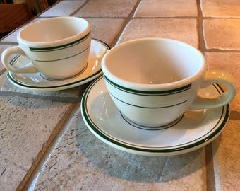 Pair of Buffalo Restaurant Ware Cups with Saucers 3 Green Bands