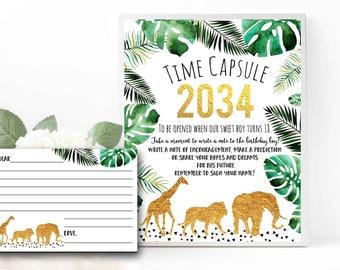 JUNGLE Time Capsule Gold Wild animal Time Capsule Wild one Time Capsule First Birthday Gold  Wild animal sign Lion Elephant Giraffe