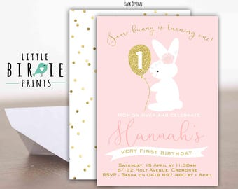 BUNNY BIRTHDAY INVITATION Bunny First Birthday Party Invitation Gold and Pink Glitter Bunny Invitation - Some Bunny Is turning one Printable