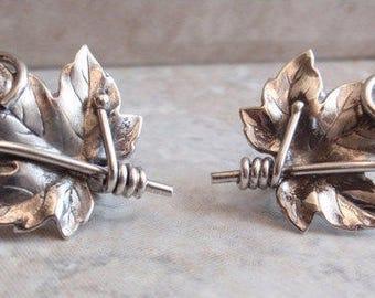 Grape Leaf Earrings Tendrils Sterling Silver Screw Back Vintage 062013CL