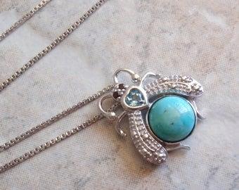 Sterling Bug Necklace Turquoise Garnet Sterling Silver Blue Topaz Vintage CW0115