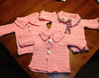 Adorable baby cardis in pink and blue