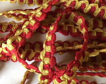 SALE 5.yard piece yellow red ribbon finishing trim item #A14