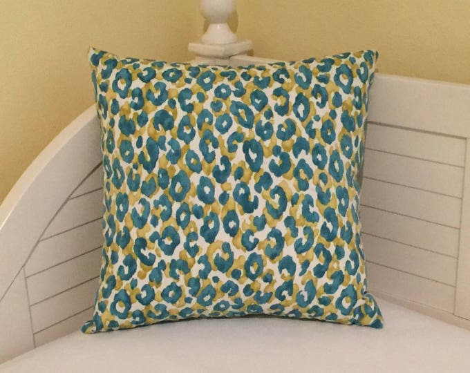 Animal Print Design in Island Blue Indoor Outdoor Pillow Cover - Square, Lumbar and Euro Sizes