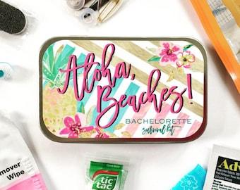 Aloha Beaches Bachelorette Survival Kit, Bachelorette Party Kit, Bachelorette Party Favors, Bachelorette Getaway, Beach Bachelorette Party