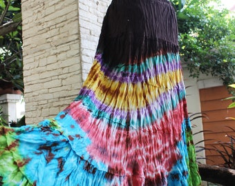 ARIEL on Earth - Boho Gypsy Long Tiered Ruffle Patchwork Tie Dyed Cotton Skirt - TD1706-02