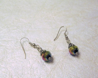 Beaded earrings, acrylic and metal beads, french hook, pierced
