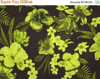 ON SALE Chartreuse on Chocolate Brown Tropical Floral Print Pure Cotton Fabric--One Yard