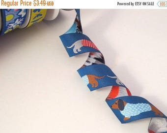 ON SALE Blue Dachshunds in Sweaters Design Polyester Jacquard Ribbon--One Yard