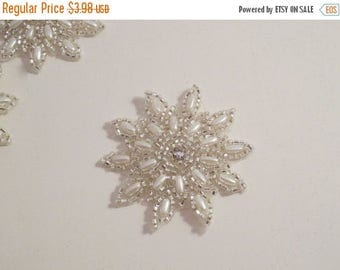 ON SALE Small Pearl and Beaded Starburst Design Appliques--One Piece