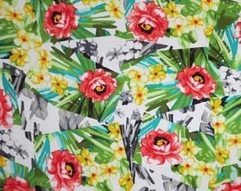 Exotic Greens with Red Tropical Floral Geometric Print Stretch Cotton Poplin Fabric--By the Yard