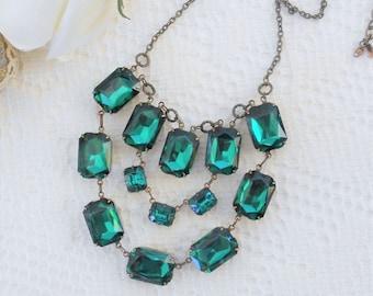 SALE, 50% OFF, Emerald Necklace, Crystal Necklace, Green Necklace, Bib Statement Necklace, Art Deco Necklace, Rhinestone Necklace