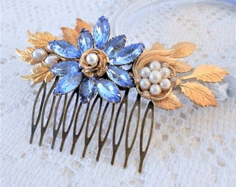 SALE, 50% OFF, Blue Hair Comb, Something Blue, Assemblage Hair Jewelry, Collage Hair Comb, Rhinestone Hair Piece, Gold Leaf Hair Comb
