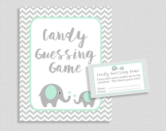 Candy Guessing Game, Mint and Grey Elephant, Guess How Many Candies, M&M's, Jelly Beans, etc., DIY Printable, INSTANT DOWNLOAD