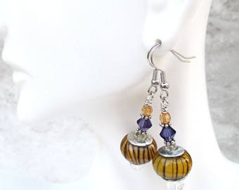 Crystal Earrings, Hypoallergenic Nickel Free Earrings, Orange and Purple Funky Bohemian Earrings, One of a Kind Christmas Gift for Her 2in