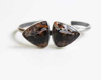 Spring SALE Jasper pretrified wood sterling silver bracelet