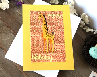 Handmade Young Child Birthday Card, Giraffe, Yellow, Modern Print, Happy Birthday, Blank Inside, Unique, Free US Shipping,