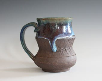 Coffee Mug, 12 oz, handthrown ceramic mug, stoneware pottery mug, unique coffee mug, stoneware mug, coffee mug pottery, pottery mug