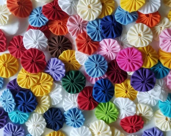 50 Assorted Colors 1 inch  Fabric Miniature Yo Yos Applique Quilt Pieces Scrapbooking Embellishments