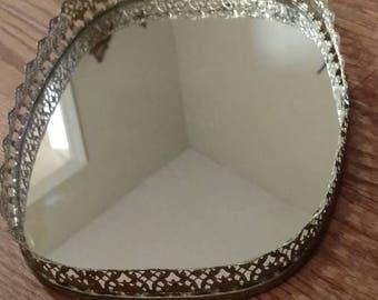 FREE SHIPPING Mirror Vanity Tray, Gold Lace Edges, Bedroom Vanity Tray, Perfume Tray, Oblong, Glass Mirror Vanity Tray, Dresser Tray, Gold
