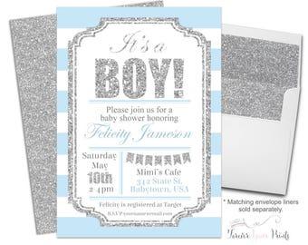 Boys Baby Shower Invite - Baby Boy Invitation - Baby Boy Invite - Baby Shower Invitation Boy - Boys Baby Sprinkle - It's A Boy