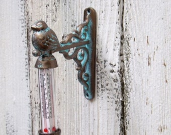 ON SALE Bird Thermometer ~Patina Bird Garden Decor~Cast Iron Bird Decor~Garden Decor~Patio Decor~Outdoor