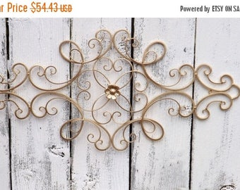 ON SALE Scrolled Wrought Iron // Shabby Chic //Wrought Iron Wall Hanging /Gold Wrought Iron