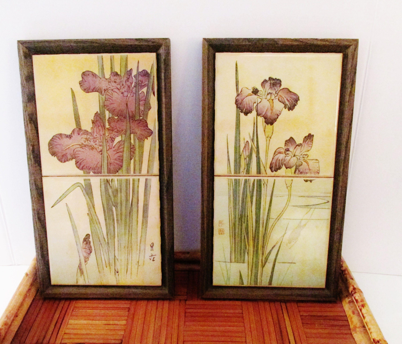 Kimberly Enterprise Framed Tiles Iris Tile Wall Plaque
