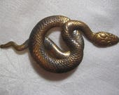 "Vintage Coiled Snake, 1970s Egytian Revival Asp/Viper/Serpent/Reptile Brooch Finding, Stamped Raw Brass Brooch/Pin Top Finding 2 7/8"", 1 pc."