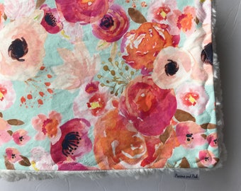 Baby Girl Bedding, Floral Crib Sheet, Watercolor Floral, Crib Sheet, Changing Pad Cover, Minky Blanket, Personalized Blanket, Baby Gift