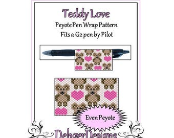 Peyote Beading Pattern (Pen Wrap/Cover)-Teddy Love