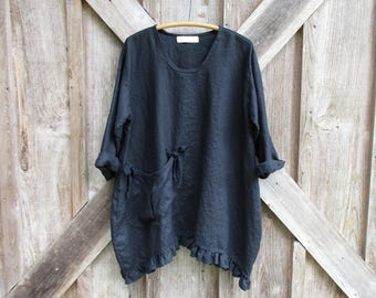 RESERVED FOR CC linen tunic blouse tunic in black ready to ship