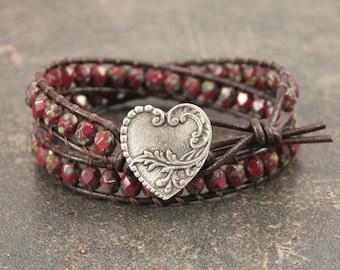Valentineu0027s Jewelry Silver Red Heart Bracelet Bold Bohemian Heart Jewelry  Valentineu0027s Bracelet