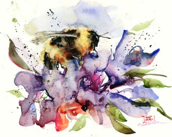 BUMBLEBEE & FLOWER Watercolor Print by Dean Crouser