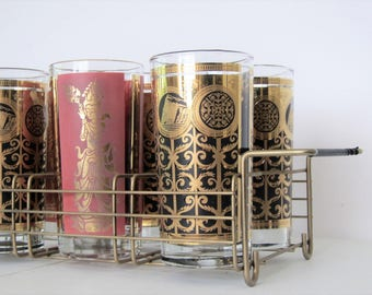 Mid century bar ware/ gold tall glasses and gold drink caddy/ bar cart display/set of 8